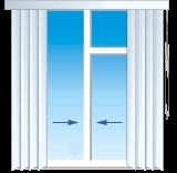 Способ управления вертикальными жалюзи к центру