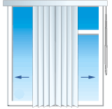 Способ управления вертикальными жалюзи от центра